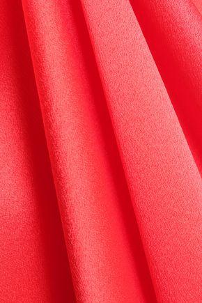 ROKSANDA Ruffle-trimmed pleated silk-satin gown
