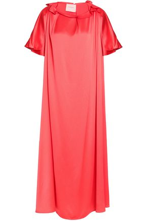 ROKSANDA Ruffle-trimmed pleated silk-satin gown