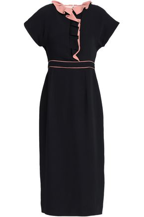 ROKSANDA Ruffle-trimmed silk-crepe midi dress