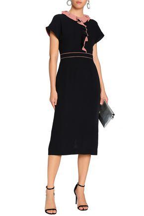 ROKSANDA Ruffle-trimmed silk-crepe midi dress