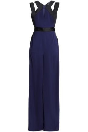 AMANDA WAKELEY Cutout two-tone cady jumpsuit