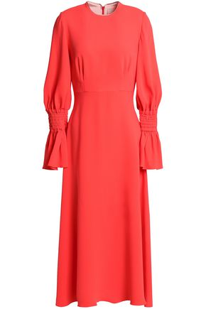 ROKSANDA Satin-trimmed shirred silk-cady midi dress