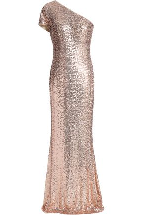 BADGLEY MISCHKA One-shoulder sequined tulle gown