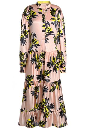 ROKSANDA Printed silk-satin midi dress