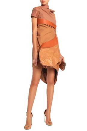 RICK OWENS Paneled crinkled-leather and cotton-jersey mini dress