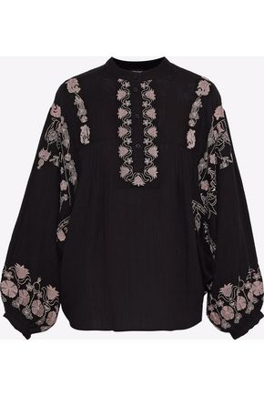 ANTIK BATIK Weggee embroidered cotton-gauze tunic