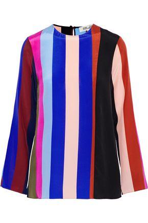 DIANE VON FURSTENBERG Striped silk crepe de chine blouse