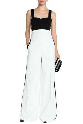 AMANDA WAKELEY Open-back two-tone crepe jumpsuit