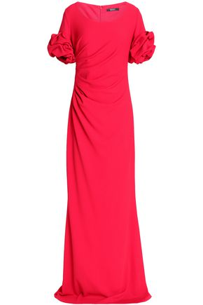 BADGLEY MISCHKA Ruffled fluted crepe gown