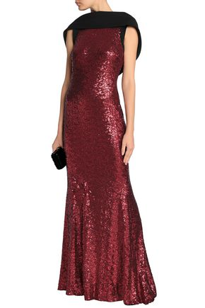 BADGLEY MISCHKA Open-back draped sequined tulle gown