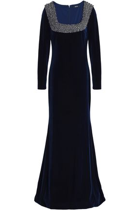 BADGLEY MISCHKA Fluted embellished velvet gown