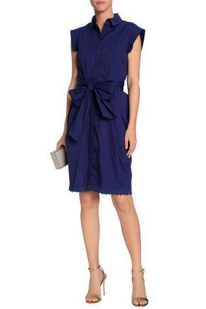 VIONNET Bow-detailed cotton-blend poplin shirtdress