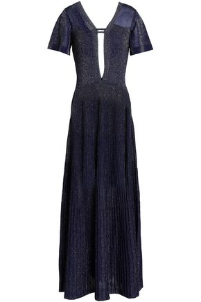 VIONNET Cutout metallic stretch-knit gown