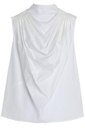 RICK OWENS Draped cotton-poplin top