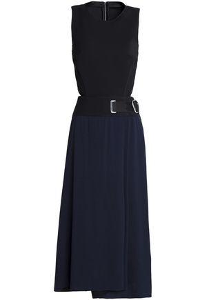 AMANDA WAKELEY Cutout belted stretch-ponte and crepe midi dress