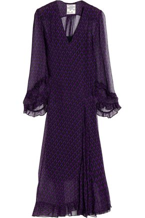 BAUM UND PFERDGARTEN Ruffle-trimmed printed georgette midi dress