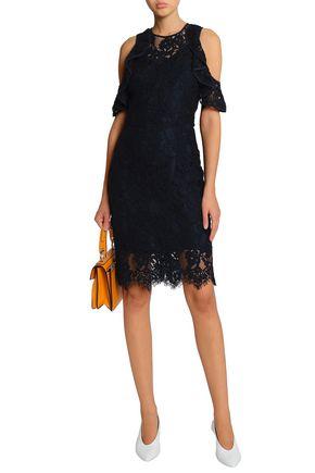 BAUM UND PFERDGARTEN Cold-shoulder ruffle-trimmed corded lace dress