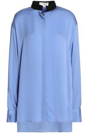 AMANDA WAKELEY Draped silk-satin blouse