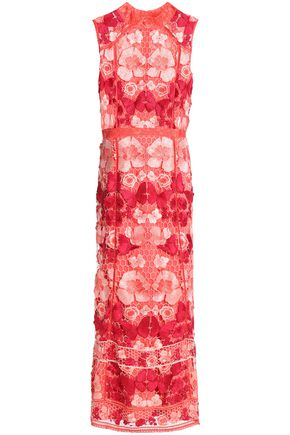 MARCHESA NOTTE Embroidered guipure lace midi dress