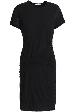 JAMES PERSE Twist-front cotton-jersey mini dress