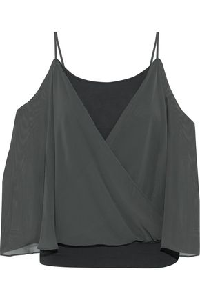 Tombe Cold Shoulder Layered Chiffon And Jersey Top by Bailey 44