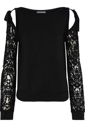 BAILEY 44 Sentimental cold-shoulder lace-paneled stretch-modal fleece sweatshirt