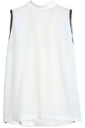 AMANDA WAKELEY Tulle-trimmed silk crepe de chine top