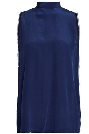 AMANDA WAKELEY Tulle-trimmed silk crepe de chine top