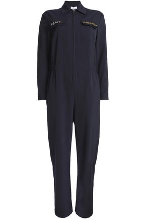 RED VALENTINO | Redvalentino Woman Embroidered Woven Jumpsuit Midnight Blue | Goxip