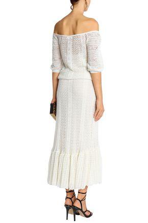 REDValentino Off-the-shoulder crochet-knit midi dress