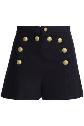 REDValentino Scalloped brushed wool-blend shorts