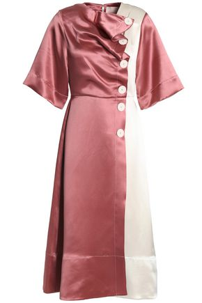 ROKSANDA Draped two-tone silk-satin midi dress