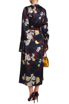 ROKSANDA Printed silk-satin midi dress