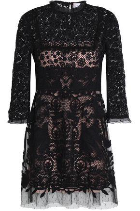 REDValentino Point d'esprit-trimmed cotton guipure lace mini dress