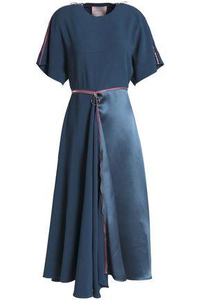 ROKSANDA Satin-paneled zip-detailed crepe midi dress