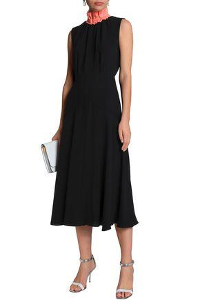 ROKSANDA Two-tone twill-trimmed silk-crepe turtleneck midi dress