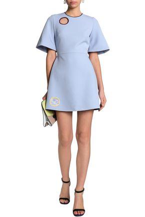 ROKSANDA Flared satin-paneled cutout crepe mini dress