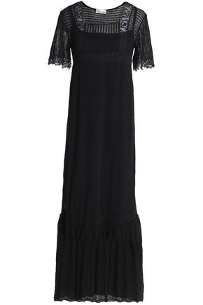 REDValentino Lace-trimmed crochet-knit cotton maxi dress