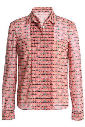 REDValentino Pintucked printed silk-blend chiffon shirt