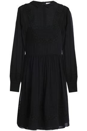REDValentino Lace-trimmed gathered silk-georgette mini dress