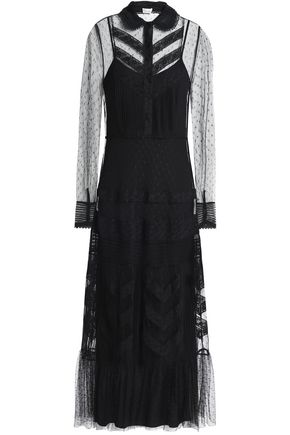 REDValentino Lace-trimmed tiered point d'esprit maxi dress