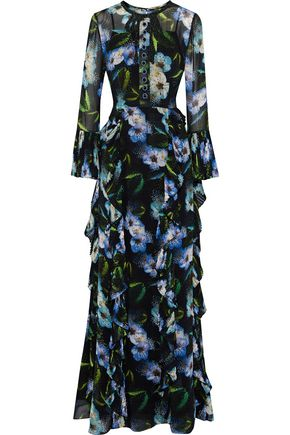 MIKAEL AGHAL Embellished ruffled floral-print crepe de chine gown