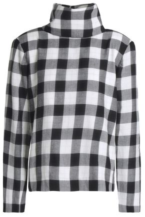 TIBI Checked cotton-blend flannel turtleneck top