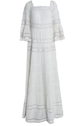 TALITHA Tasseled lace-paneled cotton-mousseline maxi dress