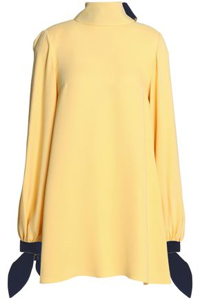 ROKSANDA Knotted two-tone silk-crepe blouse