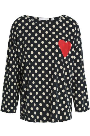 CHINTI AND PARKER Appliquéd polka-dot cotton-jersey top