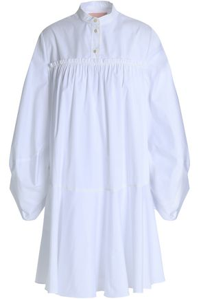 ROKSANDA Gathered cotton-poplin mini shirt dress