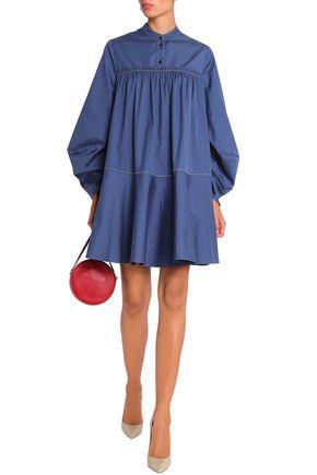 ROKSANDA Gathered cotton-poplin mini shirt dress