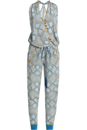 TALITHA Wrap-effect embellished printed silk jumpsuit