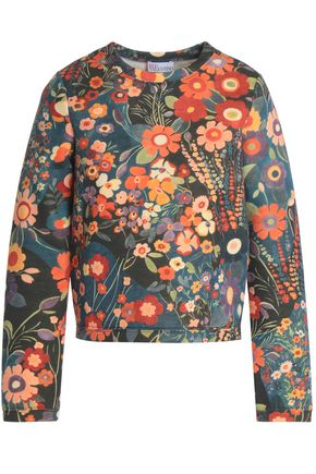 REDValentino Floral-print cotton-neoprene sweatshirt